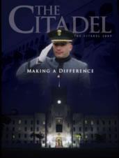 Cadet saluting over barracks