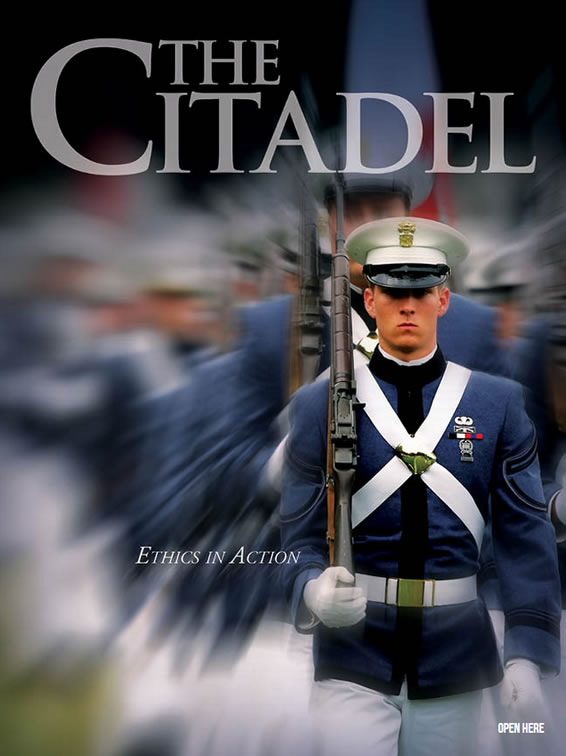 Citadel cadet marching in front of formation of classmates