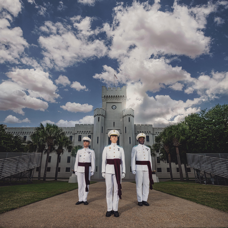 Three citadel cadets outside of PT Barracks