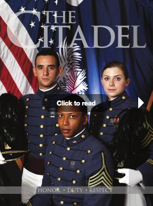 Three cadets in uniform in front of flags